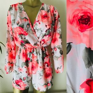 Neon Coral Floral Shorts ROMPER Size Small